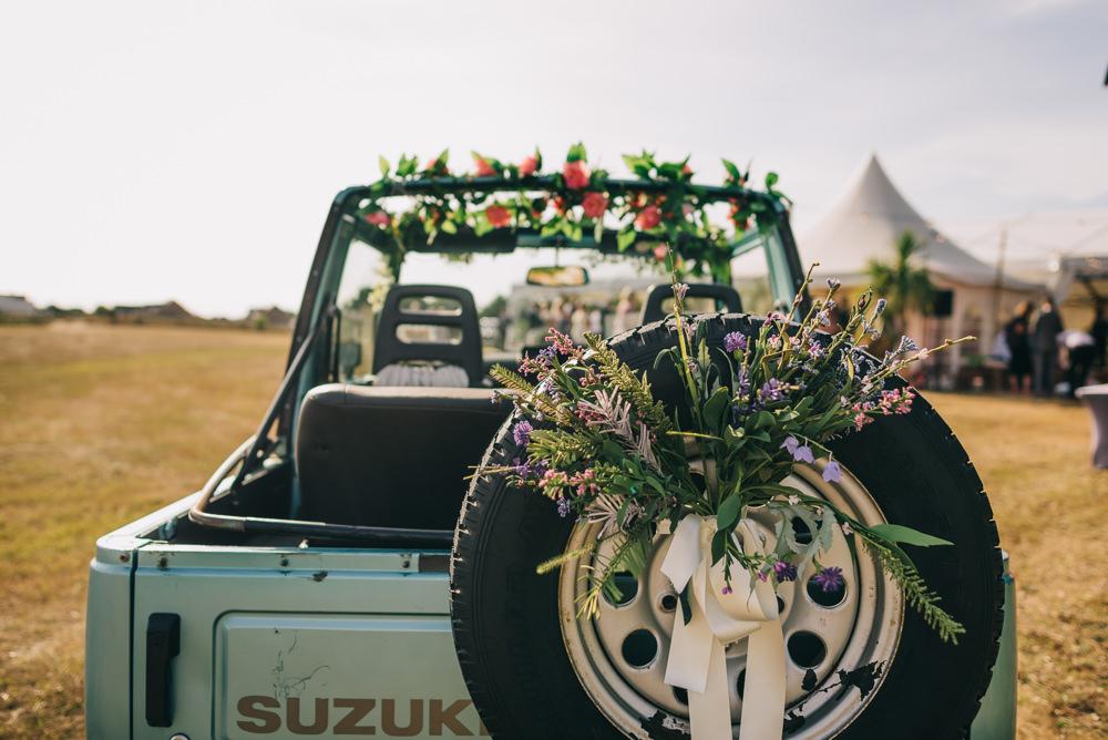 Wedding Transport Jeep Floral Foliage Ribbon Jersey Beach Wedding Peakography