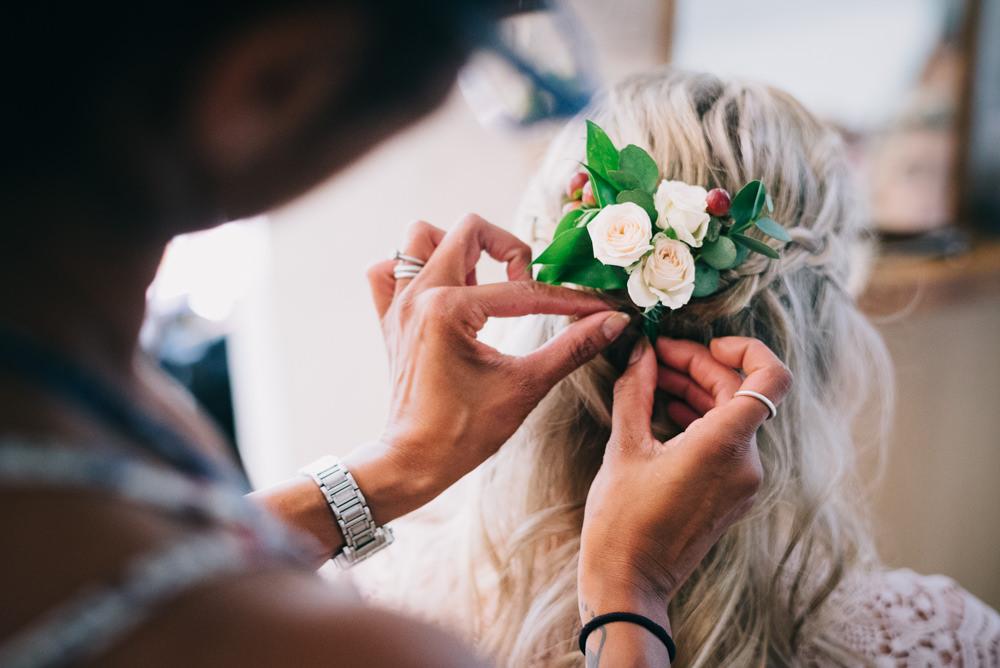 Bride Bridal Braid Plait Half Up Waves Floral Flowers Hair Jersey Beach Wedding Peakography