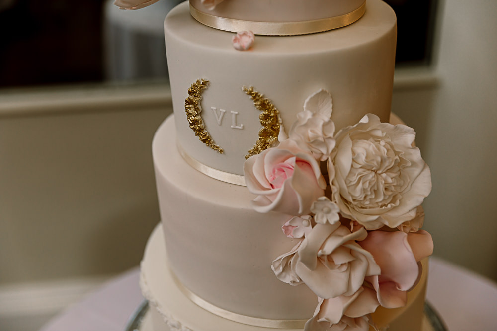 Cake Monogram Flowers Tiered Lartington Hall Wedding Hayley Baxter Photography