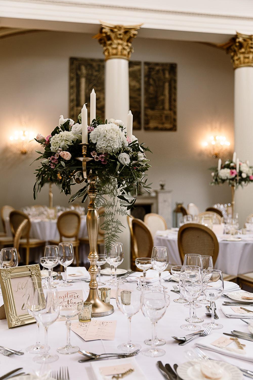 Candelabra Greenery Hydrangea Table Centrepiece Lartington Hall Wedding Hayley Baxter Photography