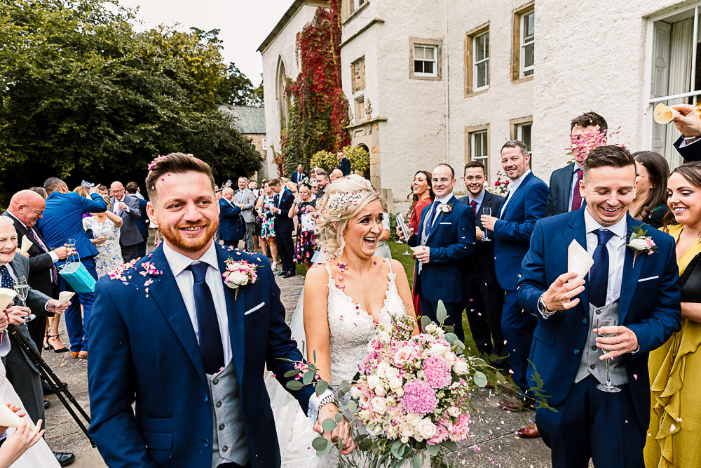 Bride Bridal Dress Gown Spaghetti Strap Lace Train Veil Hair Piece Navy Suit Groom Waistcoat Pink White Large Eucalyptus Bouquet Lartington Hall Wedding Hayley Baxter Photography