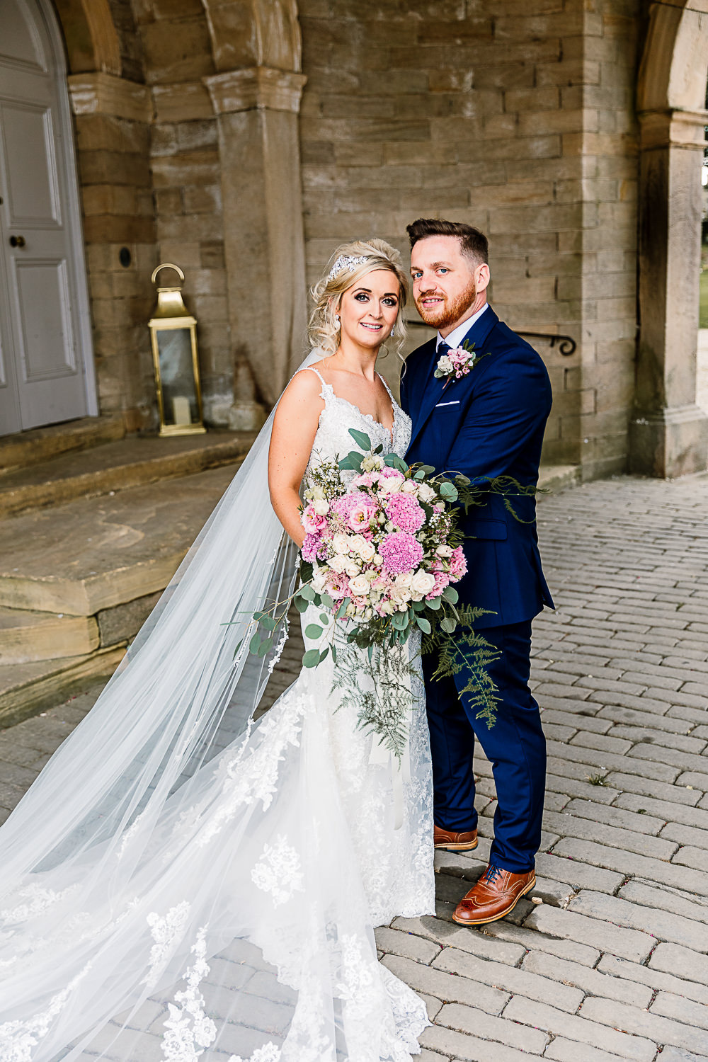 Bride Bridal Dress Gown Spaghetti Strap Lace Train Veil Hair Piece Navy Suit Groom Pink White Large Eucalyptus Bouquet Lartington Hall Wedding Hayley Baxter Photography