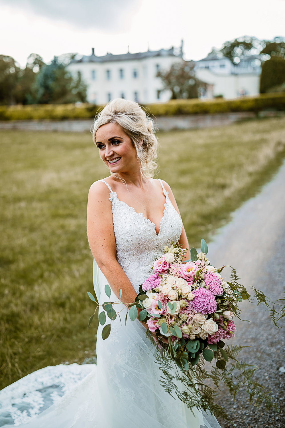 Bride Bridal Dress Gown Spaghetti Strap Lace Train Veil Hair Piece Pink White Large Eucalyptus Bouquet Lartington Hall Wedding Hayley Baxter Photography