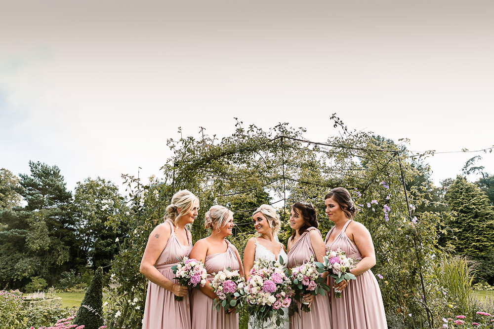 Bride Bridal Dress Gown Spaghetti Strap Lace Train Veil Hair Piece Multiway Bridesmaids Pink White Large Eucalyptus Bouquet Lartington Hall Wedding Hayley Baxter Photography