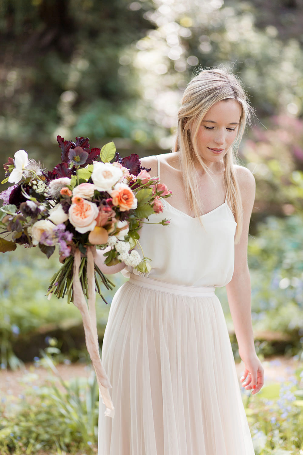Bride Bridal Dress Gown Two Piece Skirt Top Tulle Blush Pink Light Airy Summer Wedding Ideas Charlotte Palazzo Photography