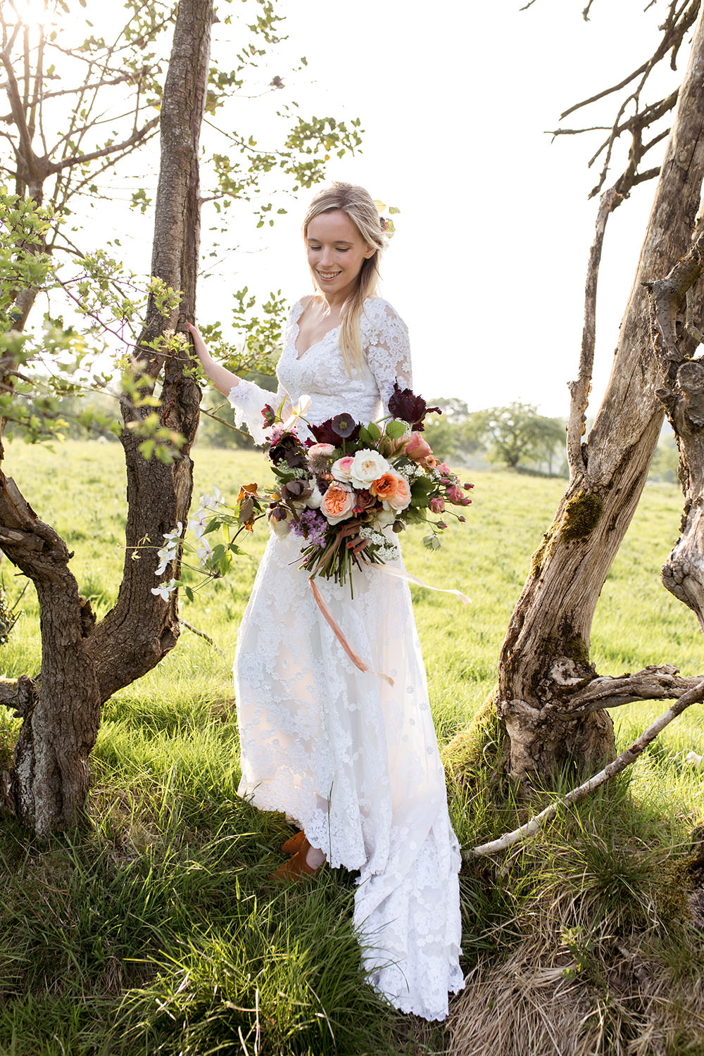 Bride Bridal Dress Gown Lace Sleeves Train Light Airy Summer Wedding Ideas Charlotte Palazzo Photography