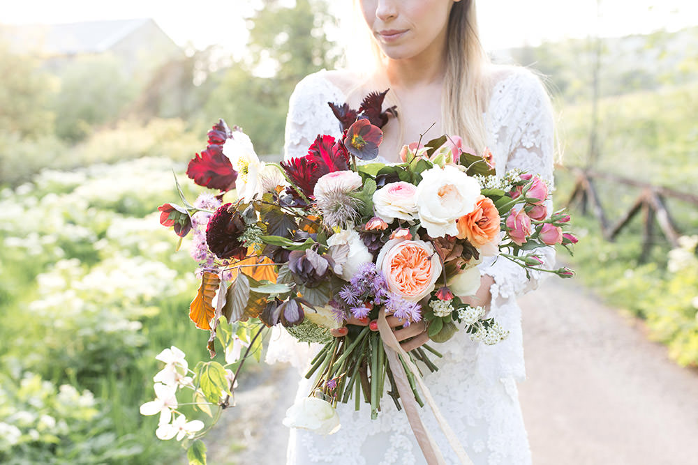 Bouquet Flowers Bride Bridal Coral Peach Roses Burgundy Tulips Ribbons Light Airy Summer Wedding Ideas Charlotte Palazzo Photography