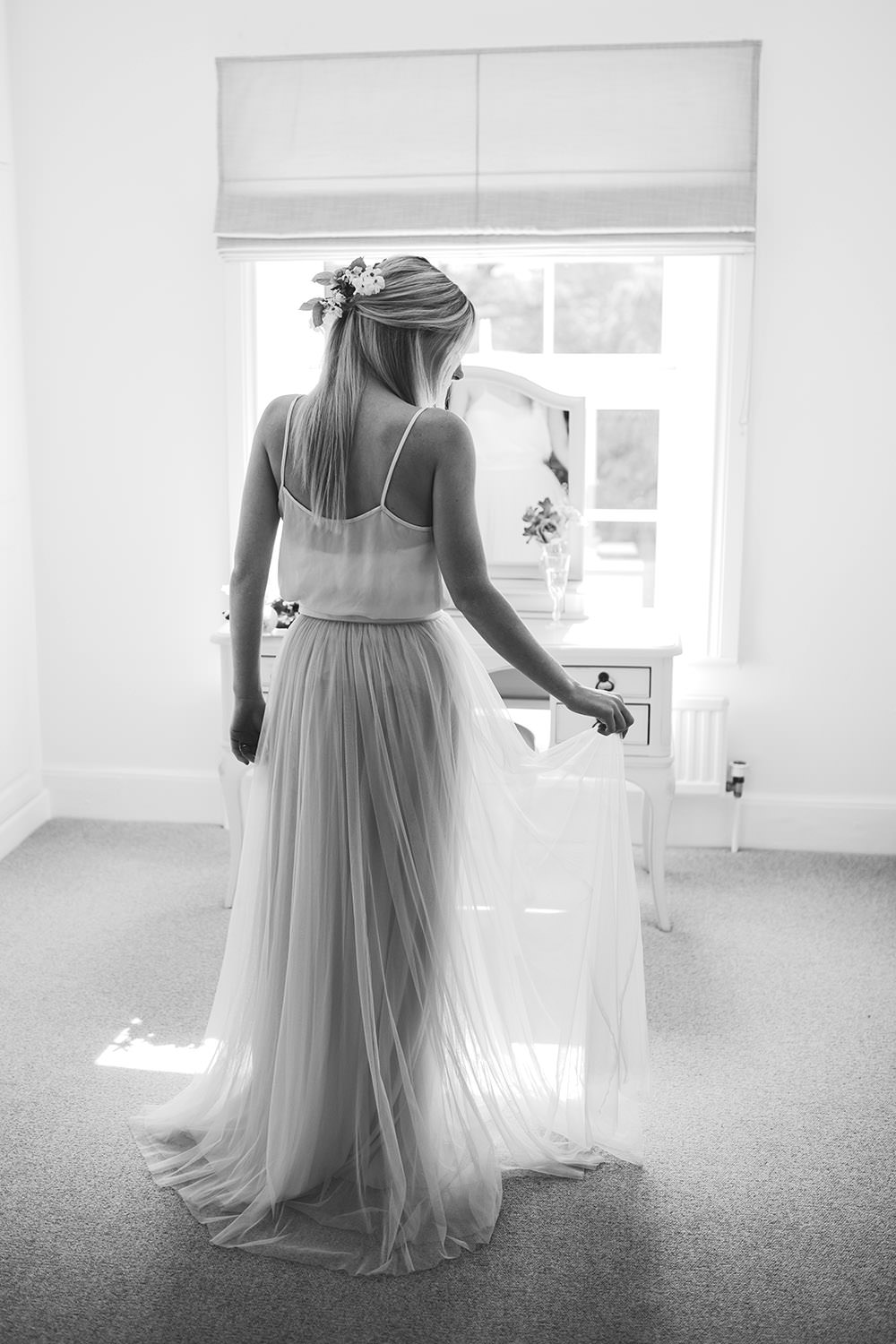 Bride Bridal Prep Morning Dressing Table Tulle Skirt Light Airy Summer Wedding Ideas Charlotte Palazzo Photography