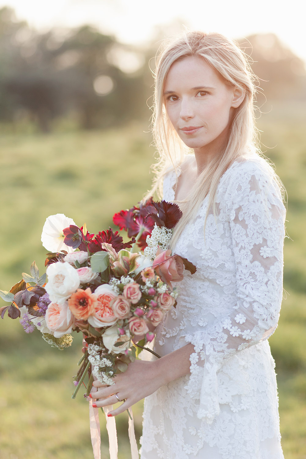 Bride Bridal Dress Gown Lace Sleeves Train Bouquet Flowers Bride Bridal Coral Peach Roses Burgundy Tulips Ribbons Light Airy Summer Wedding Ideas Charlotte Palazzo Photography