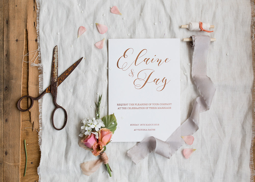Stationery Suite Invite Invitations Flat Lay Calligraphy Letterpress Light Airy Summer Wedding Ideas Charlotte Palazzo Photography