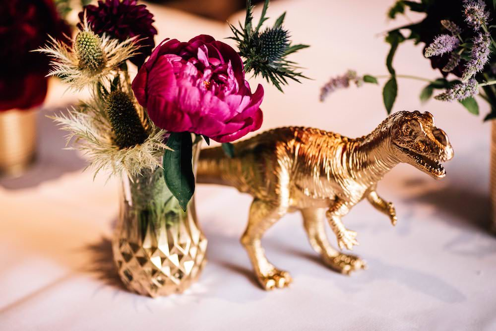 Gold Dinosaur Vase Peony Jewel Tone Flowers Floral Micklefield Hall Wedding Red On Blonde Photography