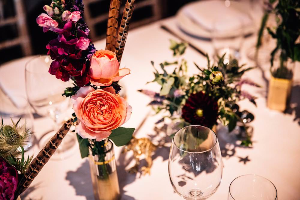 Table Centre Bud Vase Pink Purple Flowers Feather Micklefield Hall Wedding Red On Blonde Photography