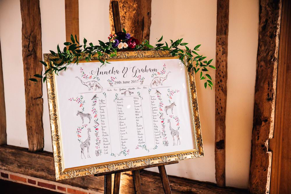 Gilt Gold Frame Greenery Floral Flowers Table Plan Seating Chart Micklefield Hall Wedding Red On Blonde Photography