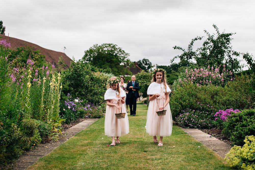 Flower Girls Floral Crown Cape Fur Peach Dress Basket Micklefield Hall Wedding Red On Blonde Photography