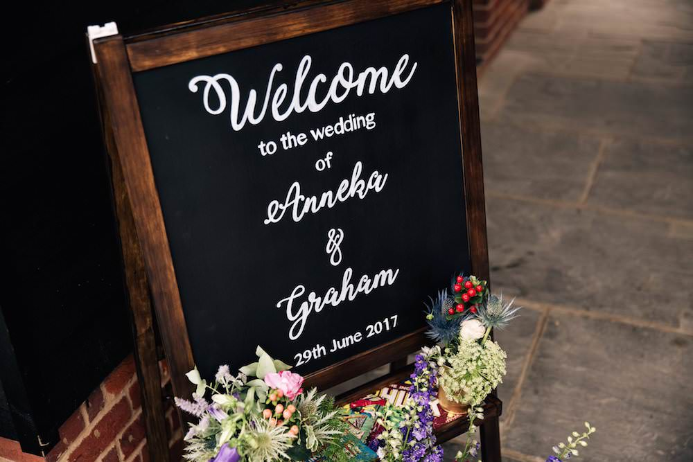 Welcome Chalk Sign A Board Flowers Floral Micklefield Hall Wedding Red On Blonde Photography