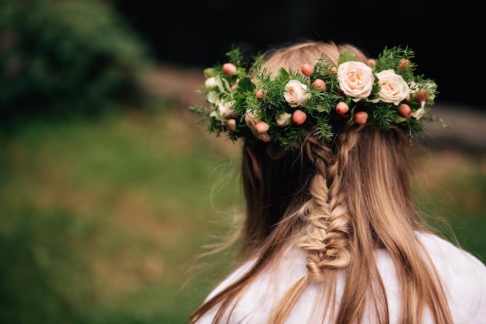 Peach Rose Berry Flower Crown Girl Micklefield Hall Wedding Red On Blonde Photography