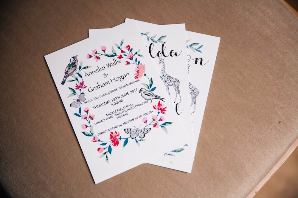 Stationery Invitation Illustrated Micklefield Hall Wedding Red On Blonde Photography