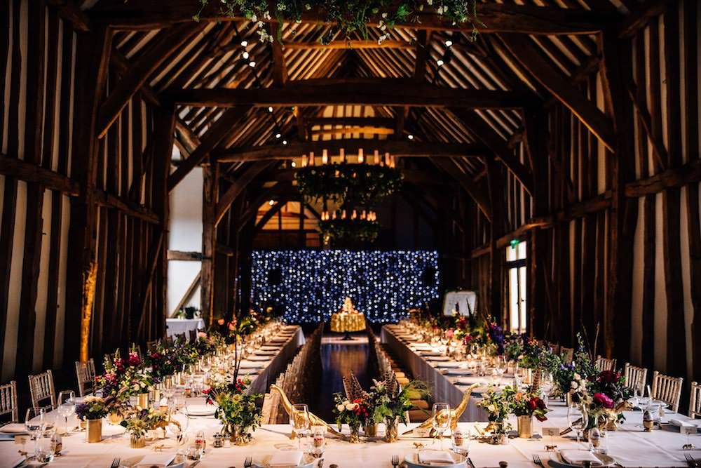 Jewel Tone Dinner Pea Fairy Light Curtain Feather Florals Micklefield Hall Wedding Red On Blonde Photography