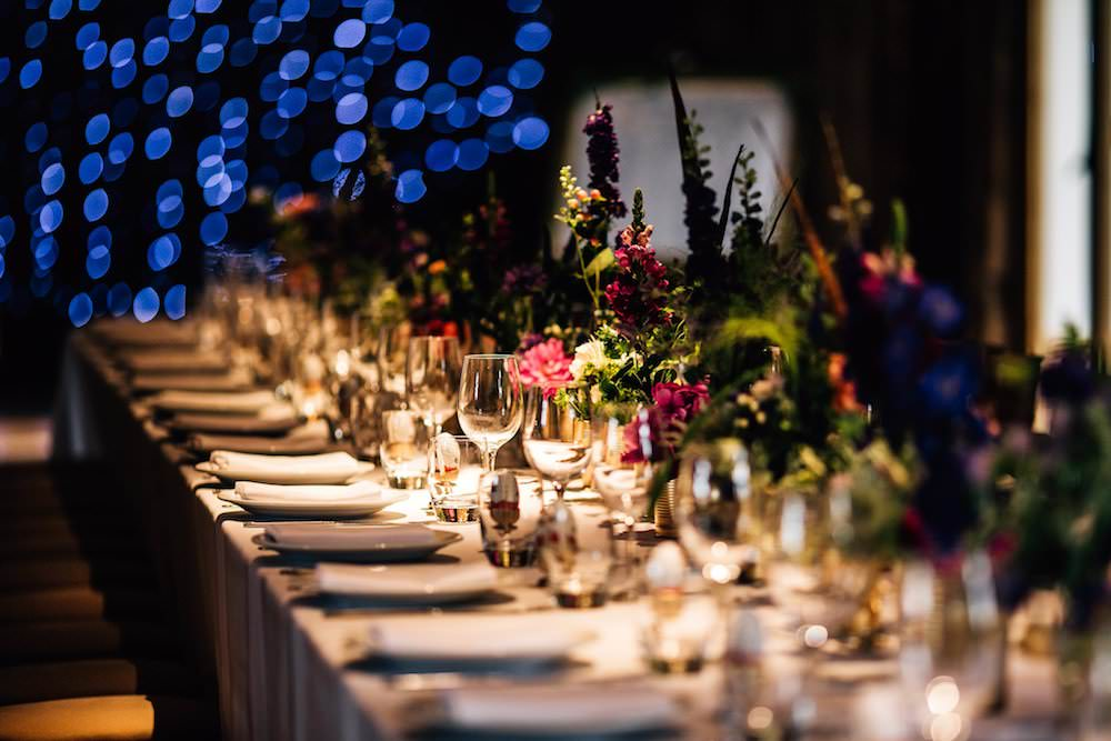 Jewel Tone Feather Florals Dinner Table Micklefield Hall Wedding Red On Blonde Photography