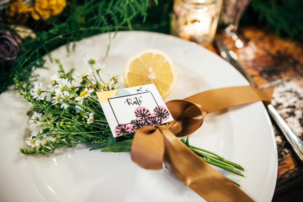 Place Setting Name Plate Ribon Greenery Foliage Rustic Table Modern Pub Wedding Ideas Three Flowers Photography