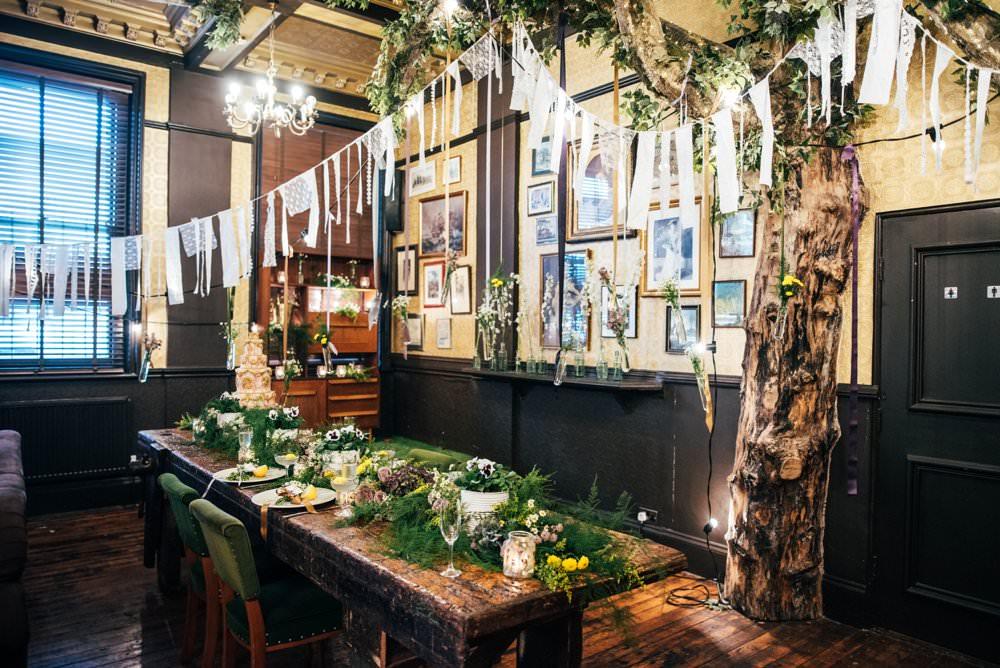Table Runner Swag Garland Greenery Foliage Tablescape Decor Rag Bunting Modern Pub Wedding Ideas Three Flowers Photography