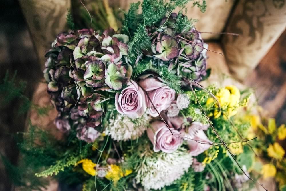 Bouquet Flowers Bride Bridal Large Wild Cascading Oversized Trailing Ribbons Greenery Foliage Rose Hydrangea Modern Pub Wedding Ideas Three Flowers Photography