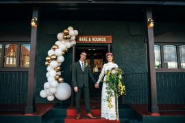 Balloon Installation Entrance Door Art White Gold Modern Pub Wedding Ideas Three Flowers Photography