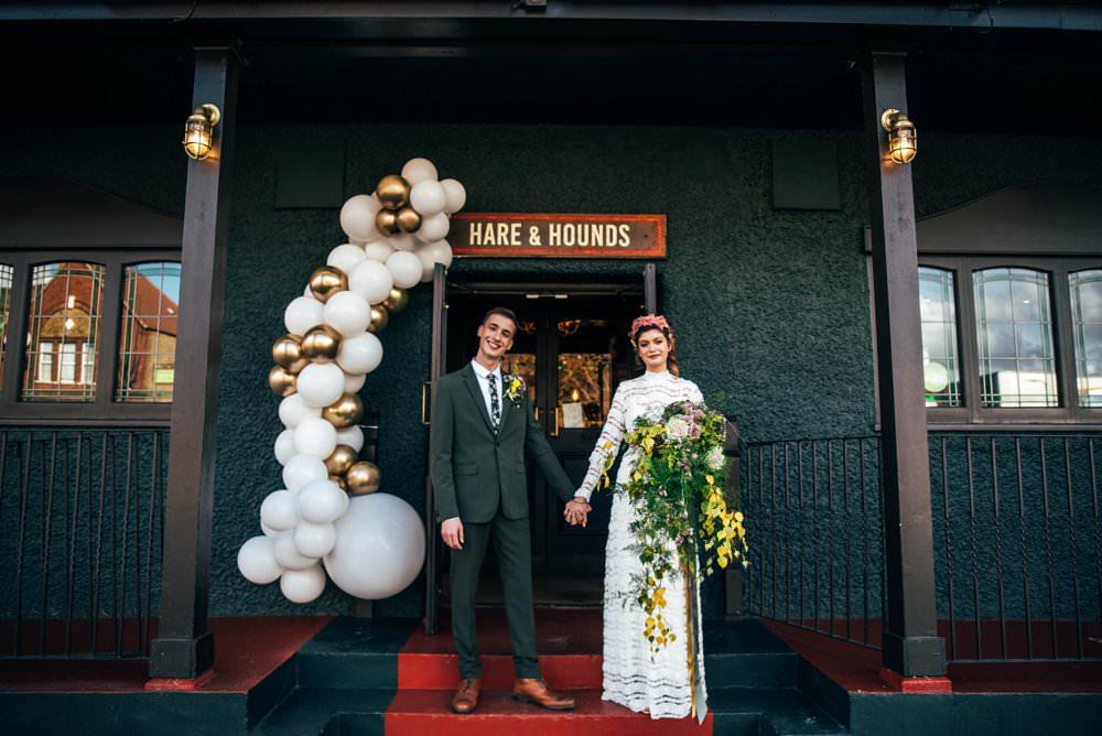 Balloon Installation Entrance Door Art White Gold Modern Pub Wedding Ideas Three Flowers Photography