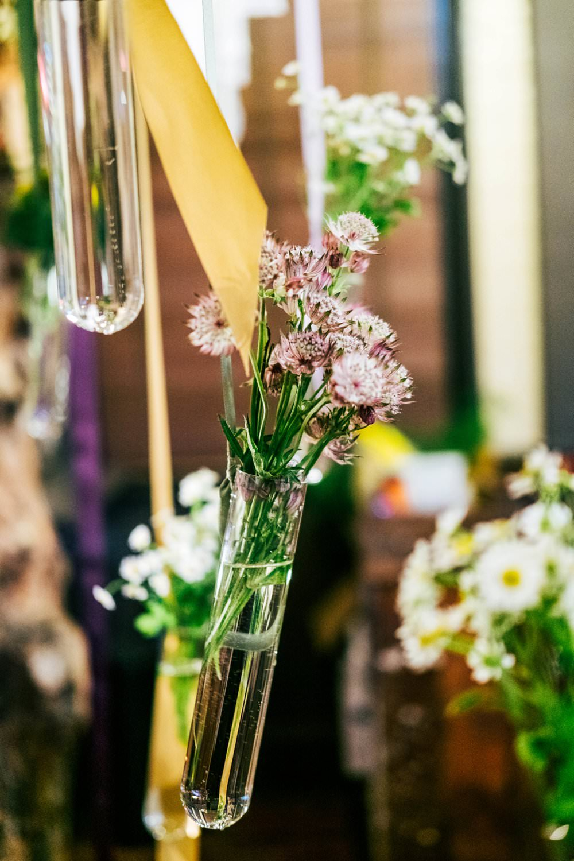 Test Tube Hanging Flowers Ribbons Modern Pub Wedding Ideas Three Flowers Photography