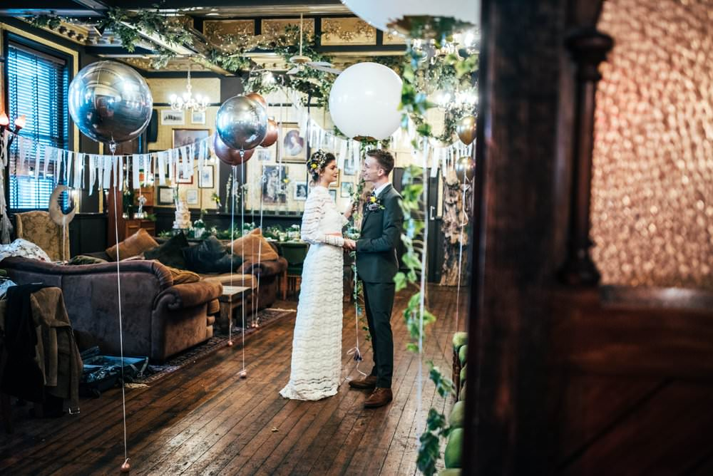 Giant Helium Balloons White Silver Decor Modern Pub Wedding Ideas Three Flowers Photography