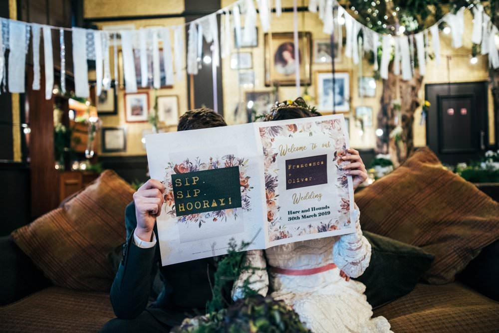 Newspaper Stationery Order of Day Modern Pub Wedding Ideas Three Flowers Photography