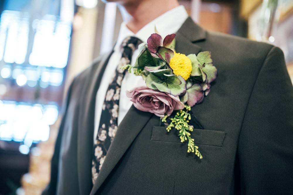 Buttonhole Flowers Rose Hydrangea Groom Modern Pub Wedding Ideas Three Flowers Photography