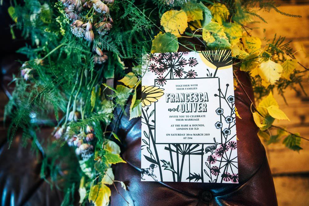 Floral Stationery Invite Invitations Modern Pub Wedding Ideas Three Flowers Photography
