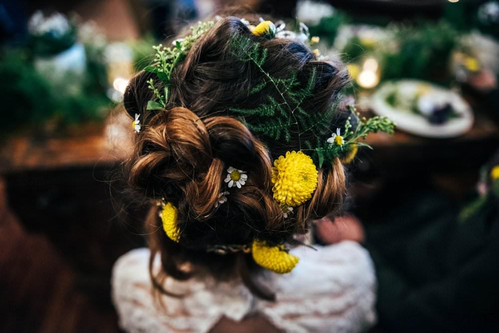 Hair Style Up Do Bride Bridal Flowers Floral Rustic Modern Pub Wedding Ideas Three Flowers Photography