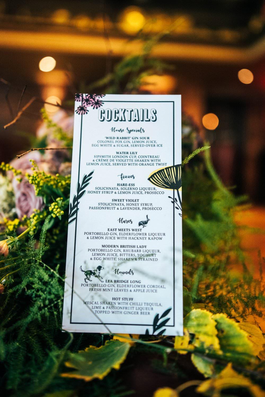 Floral Stationery Menu Modern Pub Wedding Ideas Three Flowers Photography