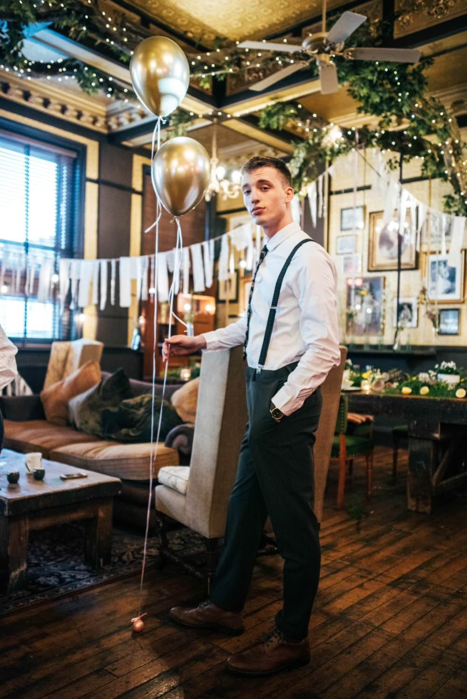 Groom Braces Shirt Trousers Floral Tie Modern Pub Wedding Ideas Three Flowers Photography