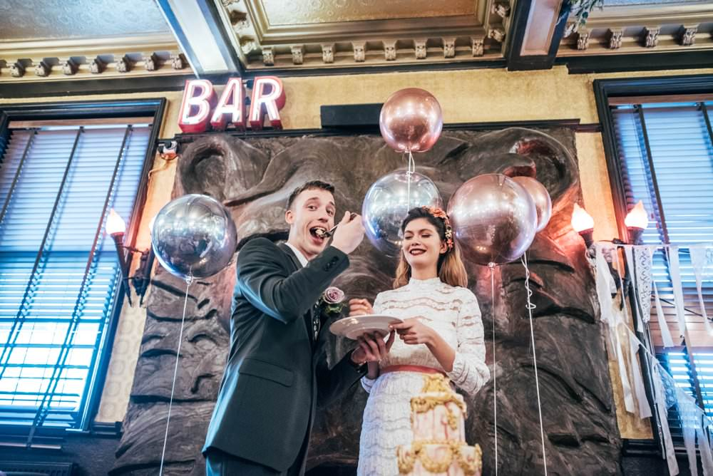 Grand Decadant Gold Pink Tier Cake Drip Watercolour Detailed Cutting Modern Pub Wedding Ideas Three Flowers Photography