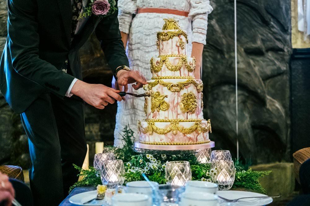 Grand Decadant Gold Pink Tier Cake Drip Watercolour Detailed Modern Pub Wedding Ideas Three Flowers Photography