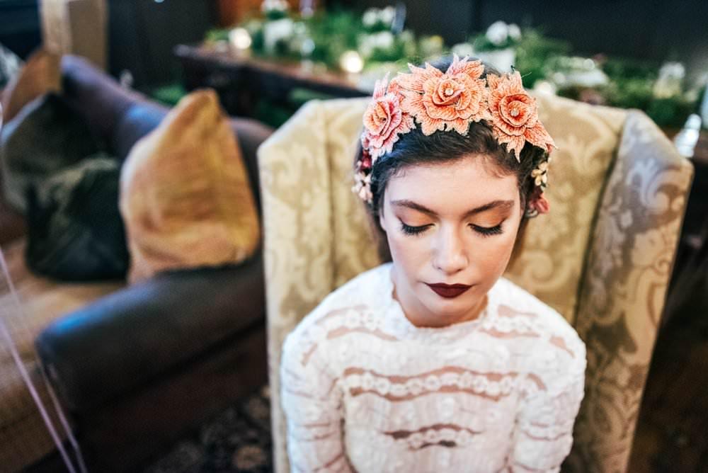 Make Up Bride Bridal Red Lip Modern Pub Wedding Ideas Three Flowers Photography