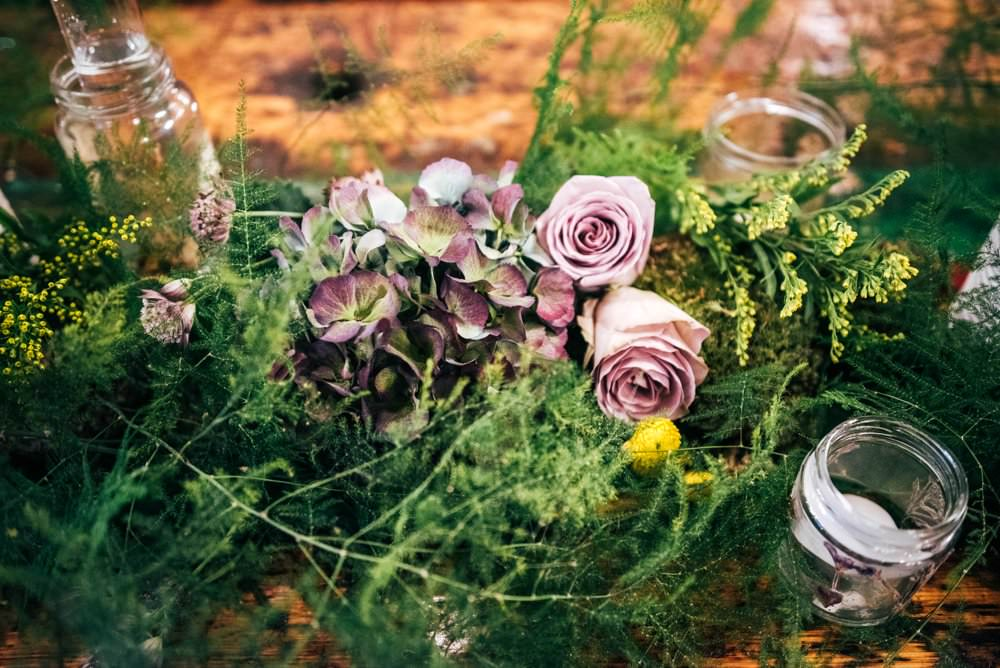 Table Runner Swag Garland Greenery Foliage Tablescape Decor Candles Pots Modern Pub Wedding Ideas Three Flowers Photography