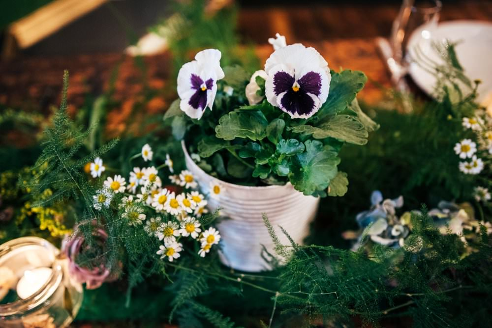 Table Runner Swag Garland Greenery Foliage Tablescape Decor Candles Pots Plants Modern Pub Wedding Ideas Three Flowers Photography
