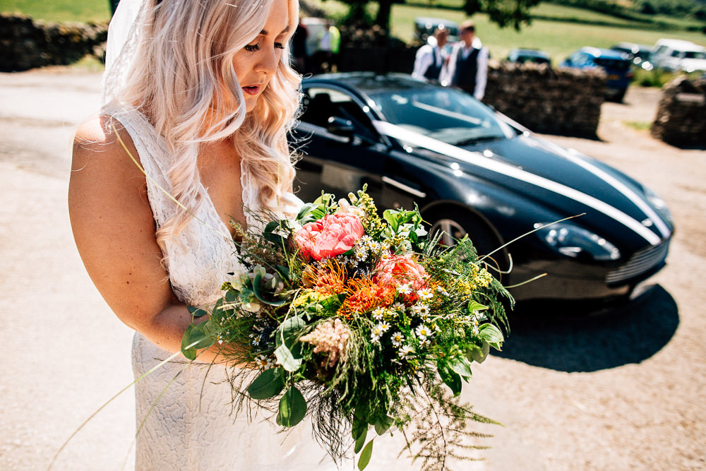 Bride Bridal Bouquet Flowers Greenery Foliage Pink Park House Barn Wedding Fairclough Studios