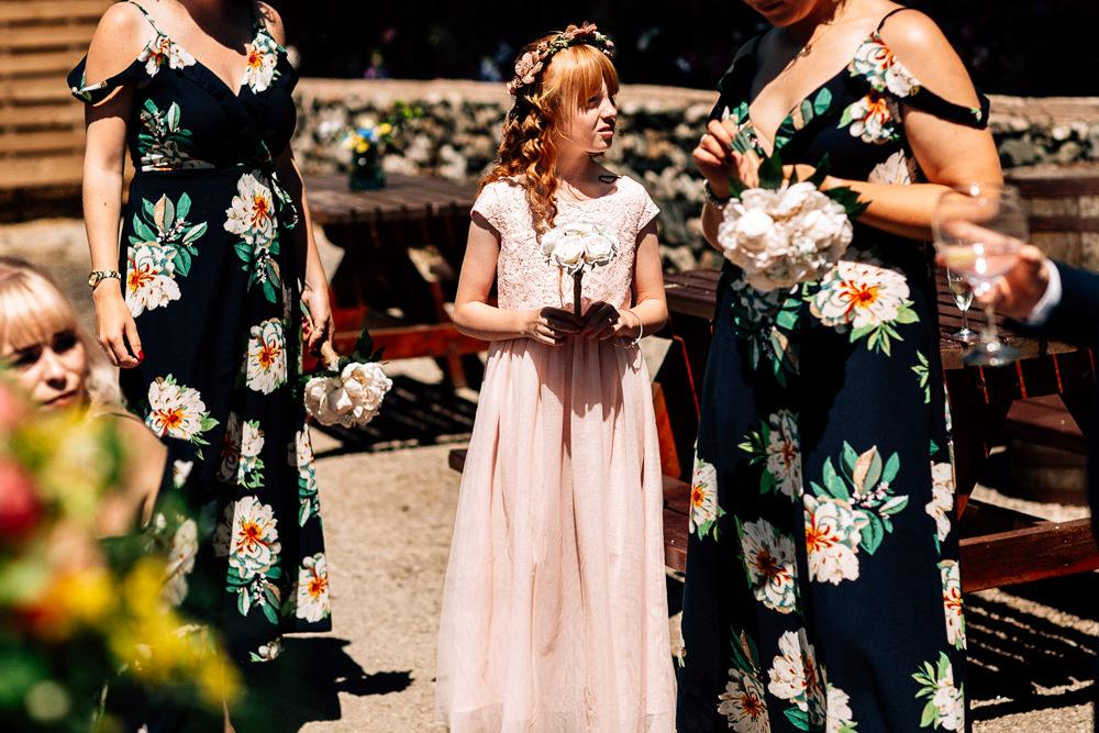 Flower Girl Pink Dress Wand Flowers Park House Barn Wedding Fairclough Studios