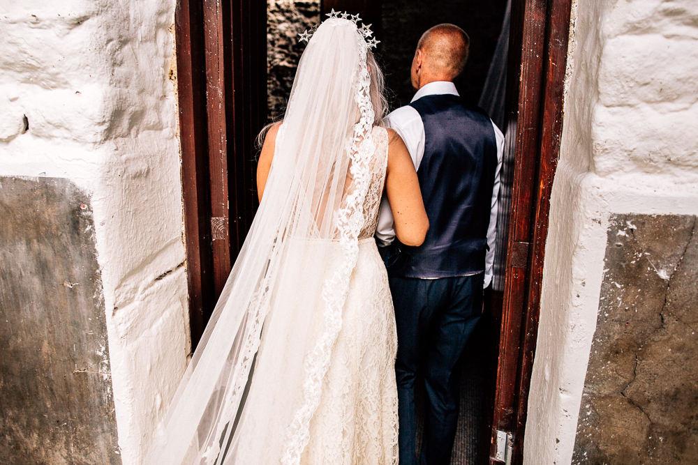 Dress Gown Bride Bridal Lace Straps Low Neckline Plunge Lace Veil Park House Barn Wedding Fairclough Studios