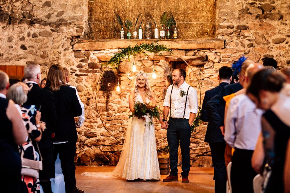 Ceremony Backdrop Moongate Hoop Flowers Festoon Lights Lighting Park House Barn Wedding Fairclough Studios
