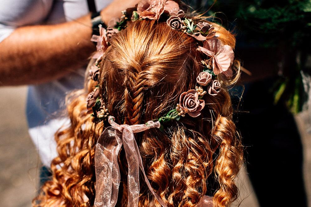 Flowergirl Flower Crown Halo Park House Barn Wedding Fairclough Studios