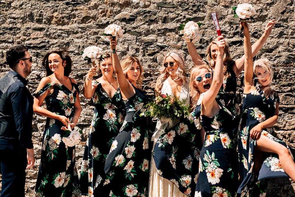 Black Floral Print Bridesmaid Dress Dresses Park House Barn Wedding Fairclough Studios