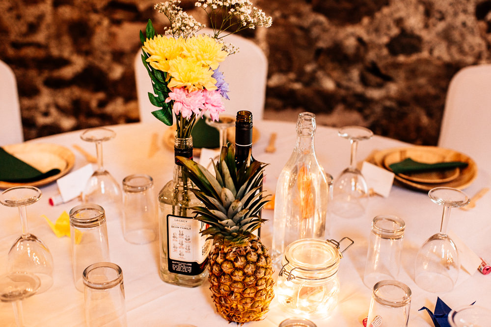 Pineapple Centrepiece Decor Tables Tropical Park House Barn Wedding Fairclough Studios