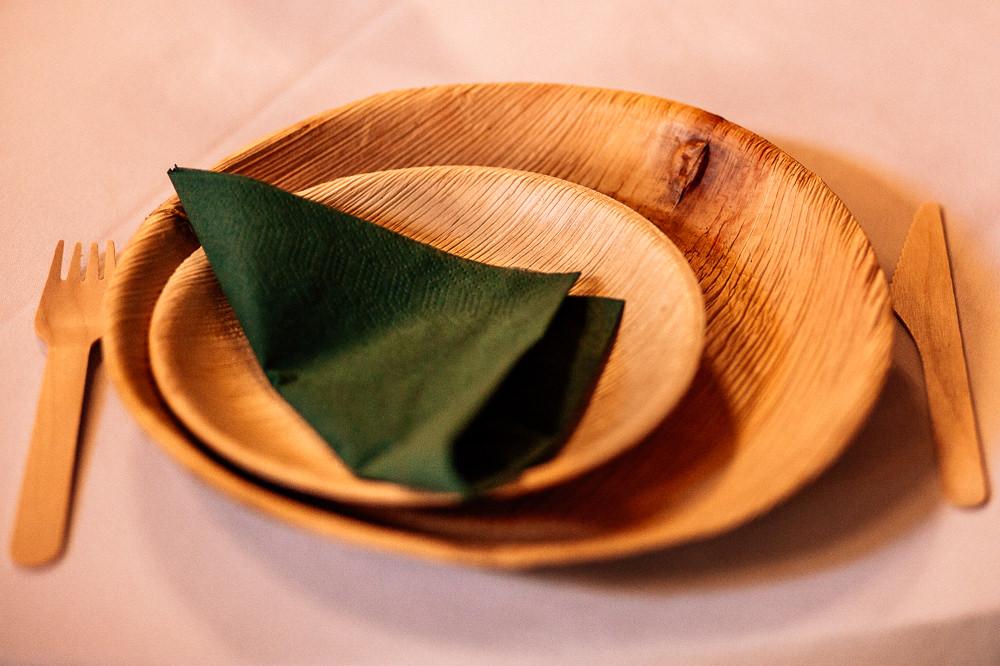 Wood Wooden Eco Plates Cutlery Park House Barn Wedding Fairclough Studios