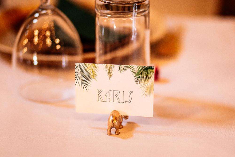 Tropical Print Table Name Place Card Park House Barn Wedding Fairclough Studios